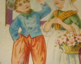 Cute Vintage Postcard (Cute Dutch Kids)