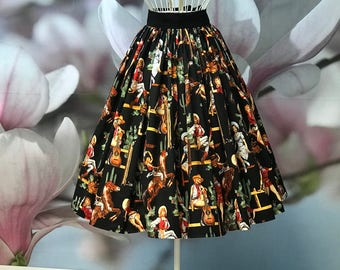 Cowboy, Cowgirl, Western, Pinup, Gathered, Skirt