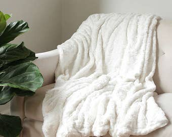 Faux Fur Blanket Ivory Bed Throw Decorative Throw Snow