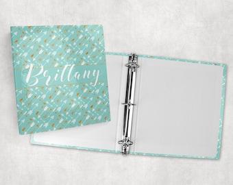 Personalized binder, boho chic feather arrows, 3 ring binder, back to school supplies, school binder, binder organizer, office organizer