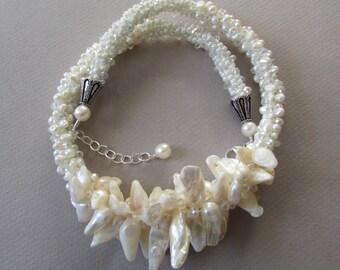 Pearl Kumihimo Necklace -- Kumihimo Jewelry -- White Kumihimo Necklace