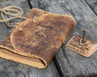 Medieval look personalized leather journal 8,7 x 6,5 inch blank book with brown craft paper