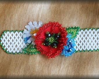 Bracelet poppy bracelet Red poppy Flower bracelet Real flower bracelet Gift for her Flower girl Gift  for sister Gift for mom Gift for wife