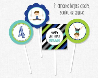 Gymnastics Cupcake Toppers, Gymnastics Party Decorations, Gymnastics Birthday Cupcake Toppers, Printable Cupcake Toppers