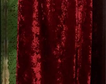 1990' claret velvet maxi skirt. Size M/L.