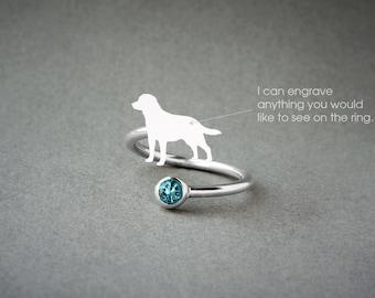 Adjustable Spiral LABRADOR BIRTHSTONE Ring / Labrador Birthstone Ring / Birthstone Ring / Dog Ring