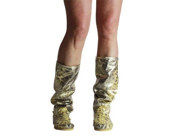 Hand-crafted/invoice leather/gold boots/women's leather boots/Women's moccasins/festival boots/HIPPI boots/grounding Boots/