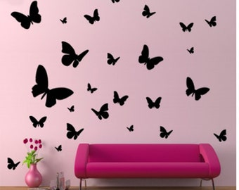 Butterfly black Butterfly stickers vinyl decals wall art set of 25 pieces mixed decor wall art living room, bathroom ect...