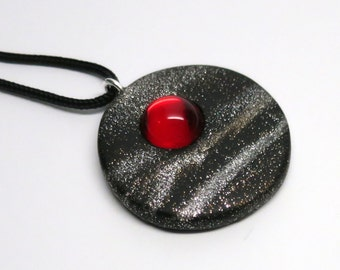 Pendant Polymer Clay with Vintage Ruby Glass Cabochon