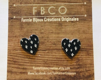 HEART black heart and cactus on Stud Earrings stainless steel/black and white cactus heart earrings on stainless steel stalk