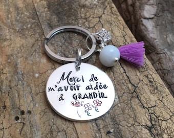 Hand Stamped Maitresse Gift, French Teacher Keyring, Gift French Teacher