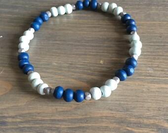 Blue Beaded Bracelet - Robins Egg Blue Bead Bracelet - Blue and Silver Bracelet