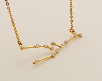 SALE 20% OFF - Taurus Necklace - Zodiac Necklace - Zodiac Signs - Taurus Necklace - Constellation Necklace with Stone- Birthday Gifts