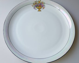 Art Deco cake plate lustreware rim flower basket porcelain 12-inches Zeh Scherzer ZS and C Bavaria