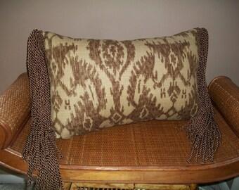 Ikat Lumbar Pillow with Long Luxury Fringe