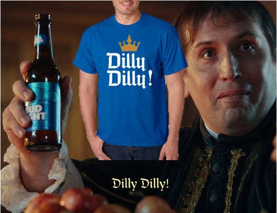 Bud light commercial dilly dilly with crown t shirt dry blend aloadofball Images