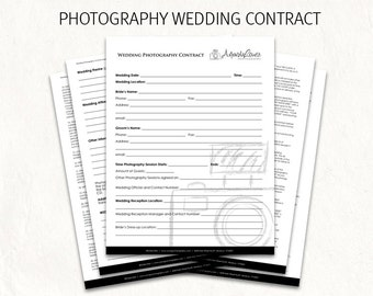 Wedding contract - wedding photography contract template - wedding photography contract. Editable photography logo on first page