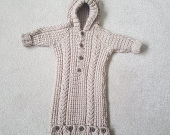 0-3 months hand knitted baby bag, hooded cable knit sleeping bag, gender neutral new baby gift, baby sack
