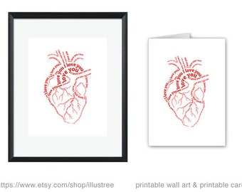 Unique love card, I love you heart, digital art print and printable card, wall art, human heart, typography, unique gift, instant download