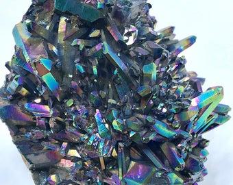 "Titanium Coated, ""Porcupine"" Rainbow Quartz Crystal Cluster, Rocks and Minerals, 489g"
