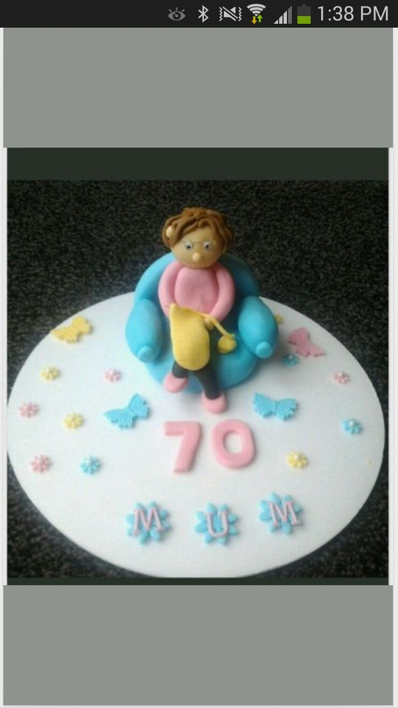 Edible Old Lady Knitting Birthday Retirement Cake Topper