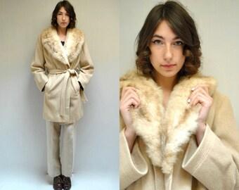 70s Coat WOOL Coat Trench Coat RABBIT FUR Collar Coat Vintage Coat Midi Coat Belted Coat Womens Coat Ivory Coat Wool Trench Wrap Coat