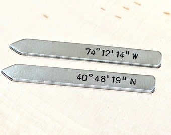 Latitude longitude collar stays in aluminum for you to personalize with your own coordinates - CS303