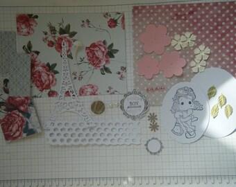 Kit  pour réaliser une carte d'anniversaire avec un personnage Magnolia
