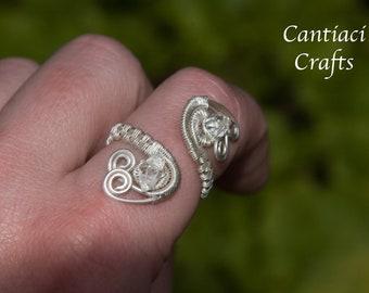 Herkimer diamond sterling silver adjustable ring