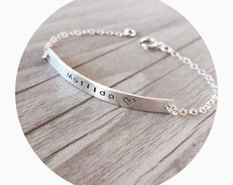 Baby Name Bracelet | Baby Bar Bracelet | Christening Bracelet | Daughter Bracelet | First Birthday Gift | Baby Name Gift | Toddler Bracelet