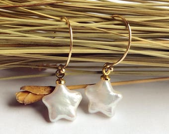 Earrings of natural pearl stars,Jewelry  Dangle Earrings ,Wedding Jewelry, Bridal Earrings