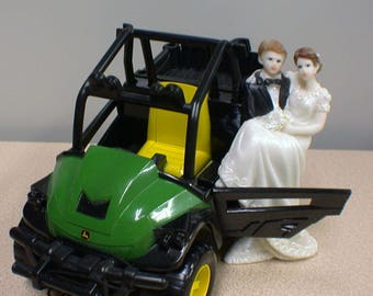 Big Country Western John DEERE Tractor Wedding Cake Topper Centerpiece Groom top  Farmer Barn Theme or glasses, Knife or book