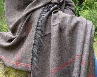 Extra large unisex pure wool shawl/ blanket scarf/ oversized scarf/ men's scarf / meditation shawl