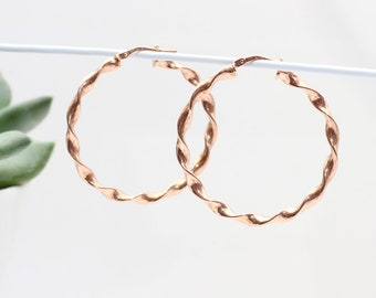 18ct Gold or Sterling Silver Twisted Hoop Earrings (HBE119)