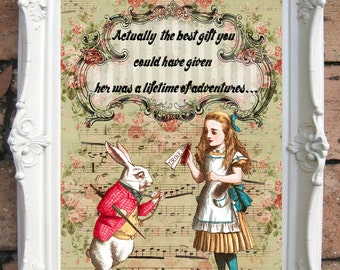 ALICE in WONDERLAND Decor Shabby Chic Decor  Alice in Wonderland Print Vintage Alice Wall Art Tea Party Mad Hatter White Rabbit  Code:A020