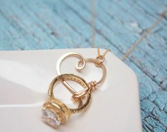Ring Holder Necklace, Wedding or Engagement Ring Holder Pendant / Heart Clasp Ring Holder Pendant, Charm Holder Necklace