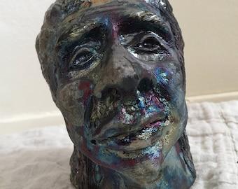 Concerned Face Ceramic Head- Raku