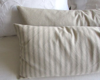 very french ticking bolster pillow daybed size 11x36 in 1/2 inch thyme sage green  0n neutral stripes
