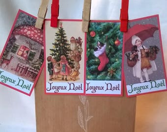 4 labels + 4 clips Christmas retro images of Christmas to attach to bags