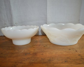 Sale!!   Two Vintage Pieces of MILK GLASS. One is  Colony HARVEST Grape Pattern. Bowls.