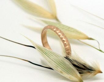 Unique 14k rose gold wedding ring, modern gold wedding band mens wedding band