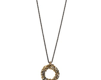 Gold plated oxidized Silver pendant - Secret Thoughts