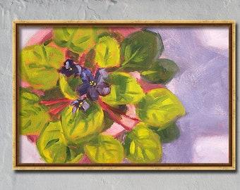 Still Life, Oil Painting, African Violet, Original, Flower, Purple, Green, Pink, 8x10 Canvas, Lavender, Floral, Romantic, House Plant