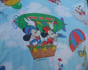 Pacific vintage Mickey Mouse sheet set Twin Flat AND fitted Mickey Mouse and Friends Mickey Air Mobile Walt Disney Sheet Pluto Donald Duck