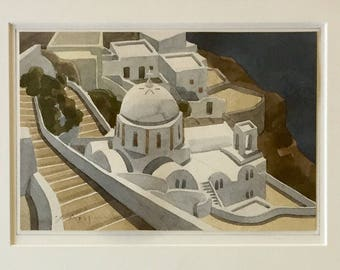 Watercolor of Santorini Greece by Christopher Asimis