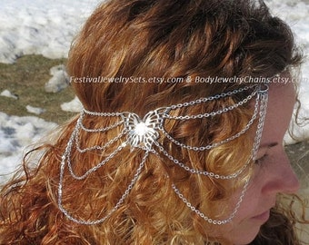 Butterfly jewelry soldered chain headpiece, butterfly head chain circlet, medieval circlet headpiece, woodland wedding hair jewelry chain