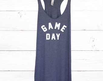 Womens Game Day Tank Top with White Print - Comfortable, Soft Game Day Sunday Tank Top for Women - Sports Sunday Tanks - Casual Wear