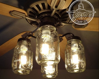 Mason jar lighting etsy mason jar ceiling fan light kit only with new quarts rustic lighting fixture chandelier flush mount workwithnaturefo