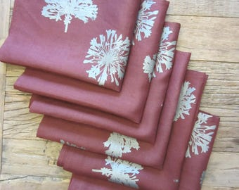 Hand Dyed and Silk Screened Napkins (Set of 10)