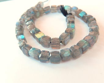 Labradorite Gemstone, Faceted Cubes 5.5mm Semi Precious Gemstone.  1 to 9 Cubes. (j3lab)